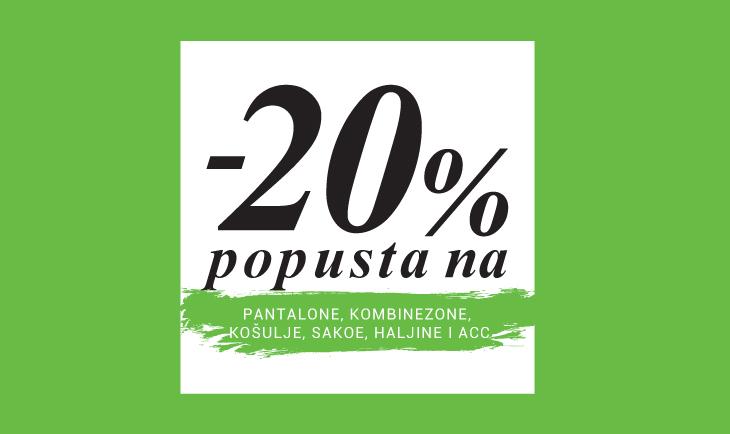 20% na produktne grupe