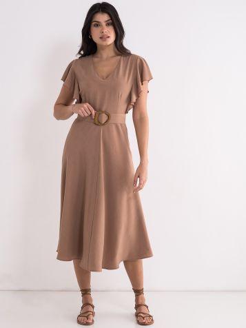 Lepršava svijetlo braon haljina