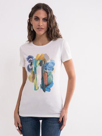 Ženska majica sa šarenom aplikacijom